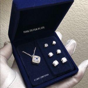 Jewelry set silver cubic zirconia pave diamond